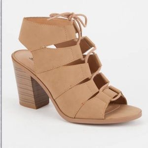Soda Tan Lace-Up Heeled Sandals
